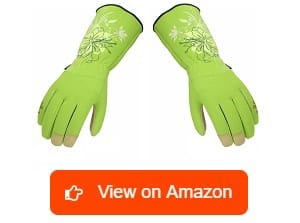 Vgo-Synthetic-Leather-Long-Cuff-Rose-Gardening-Glove